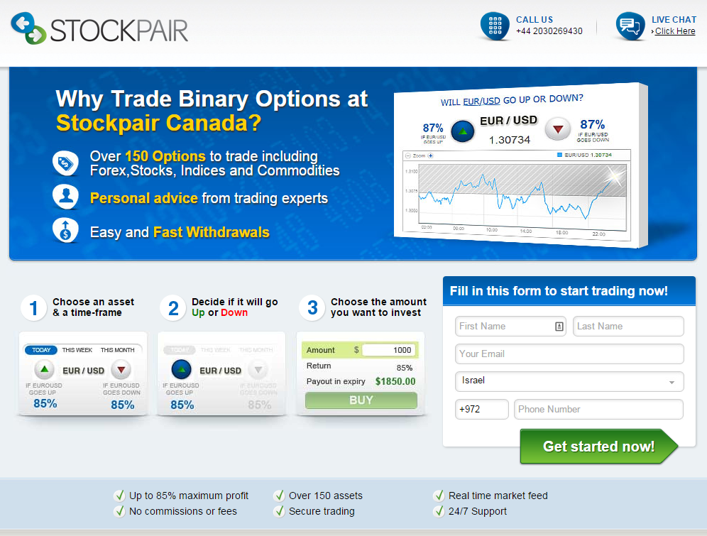 Stockpair Case Study Landing page